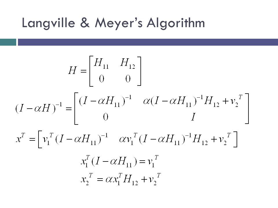 Langville & Meyer's Algorithm