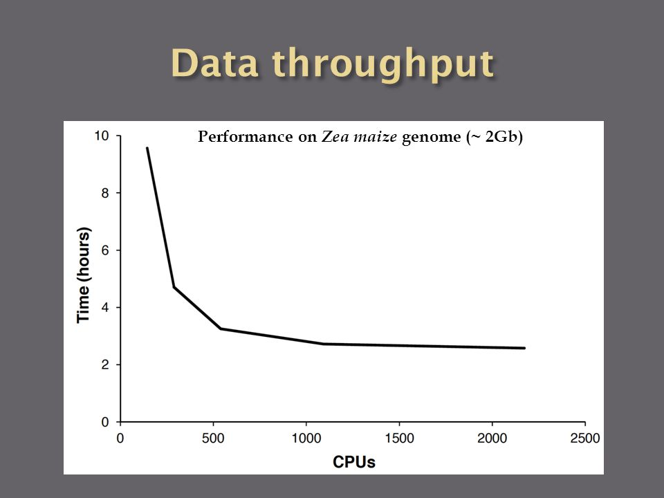 Performance on Zea maize genome (~ 2Gb)