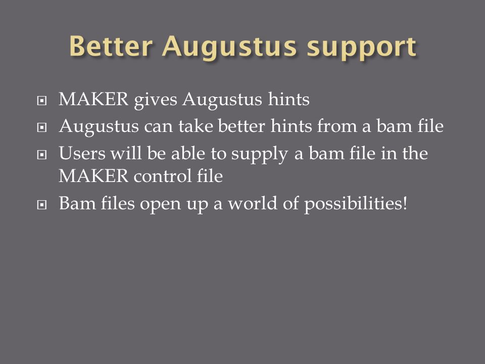  MAKER gives Augustus hints  Augustus can take better hints from a bam file  Users will be able to supply a bam file in the MAKER control file  Bam files open up a world of possibilities!