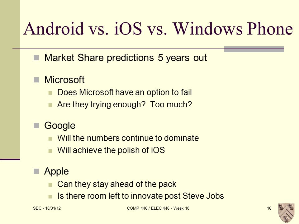 Android vs. iOS vs.