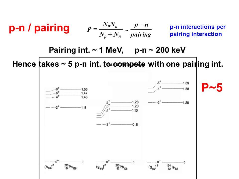   NpNnNpNn p – n P N p + N n pairing p-n / pairing P ~ 5 Pairing int. ~ 1 MeV, p-n ~ 200 keV P~5 p-n interactions per pairing interaction Hence take