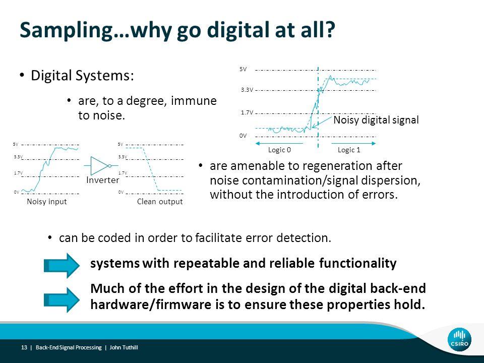Sampling…why go digital at all.