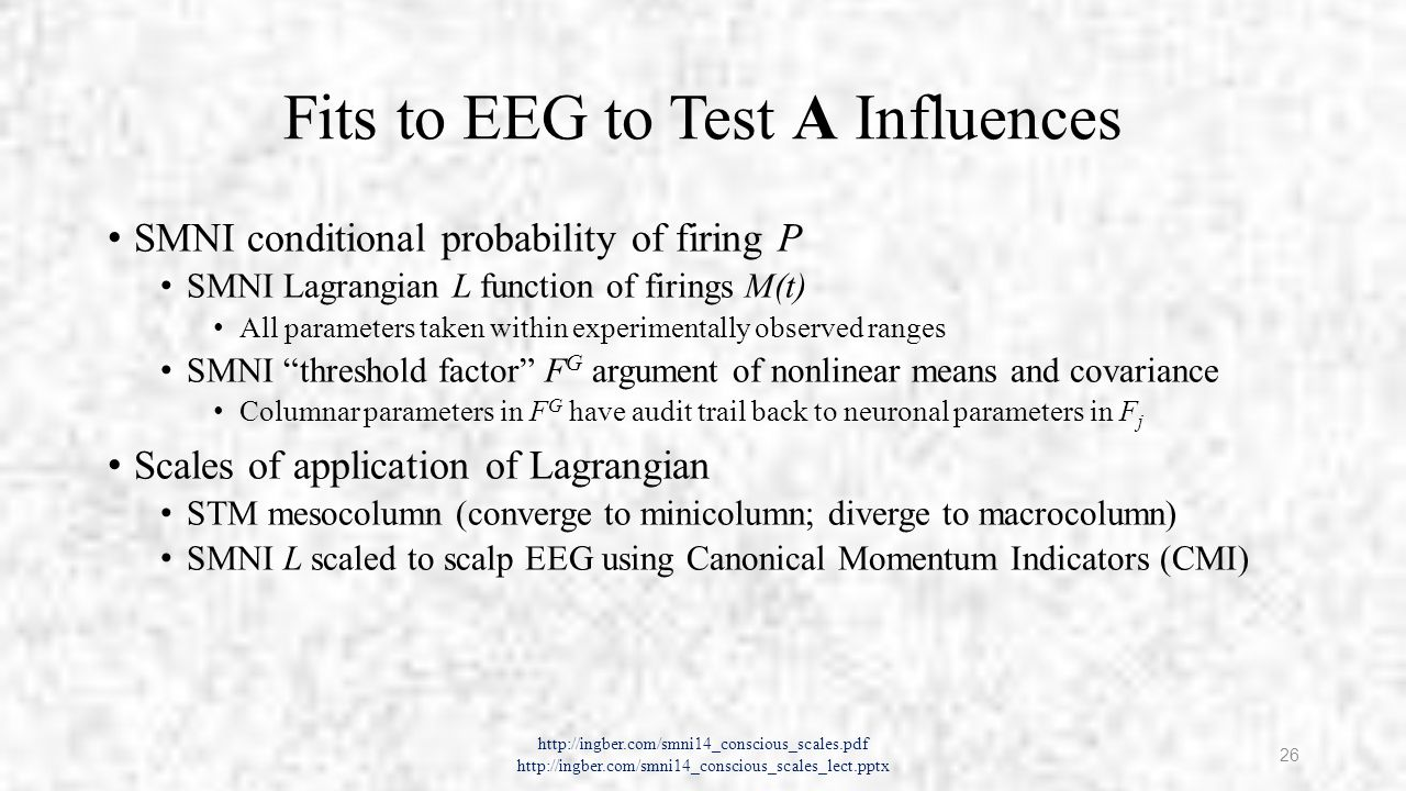 Fits to EEG to Test A Influences SMNI conditional probability of firing P SMNI Lagrangian L function of firings M(t) All parameters taken within experimentally observed ranges SMNI threshold factor F G argument of nonlinear means and covariance Columnar parameters in F G have audit trail back to neuronal parameters in F j Scales of application of Lagrangian STM mesocolumn (converge to minicolumn; diverge to macrocolumn) SMNI L scaled to scalp EEG using Canonical Momentum Indicators (CMI) http://ingber.com/smni14_conscious_scales.pdf http://ingber.com/smni14_conscious_scales_lect.pptx 26
