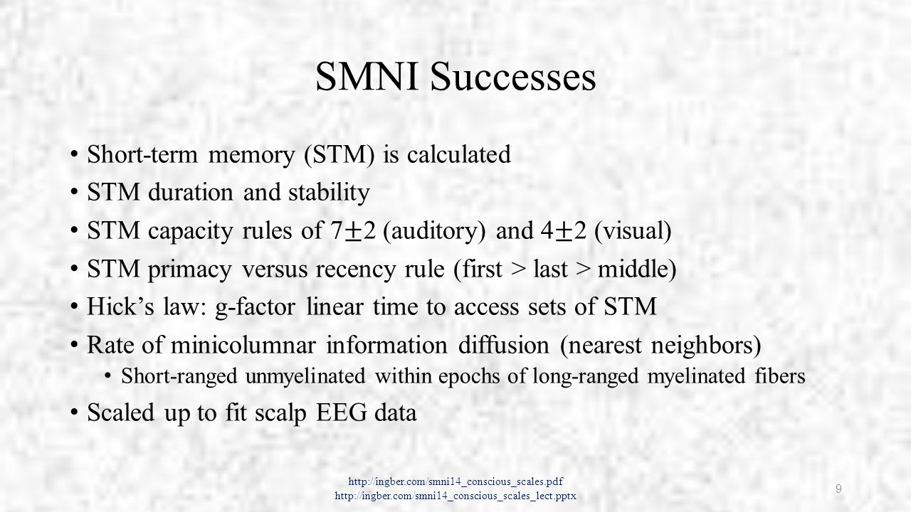 SMNI Successes http://ingber.com/smni14_conscious_scales.pdf http://ingber.com/smni14_conscious_scales_lect.pptx 9