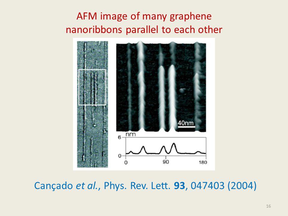 16 AFM image of many graphene nanoribbons parallel to each other Cançado et al., Phys. Rev. Lett. 93, 047403 (2004)