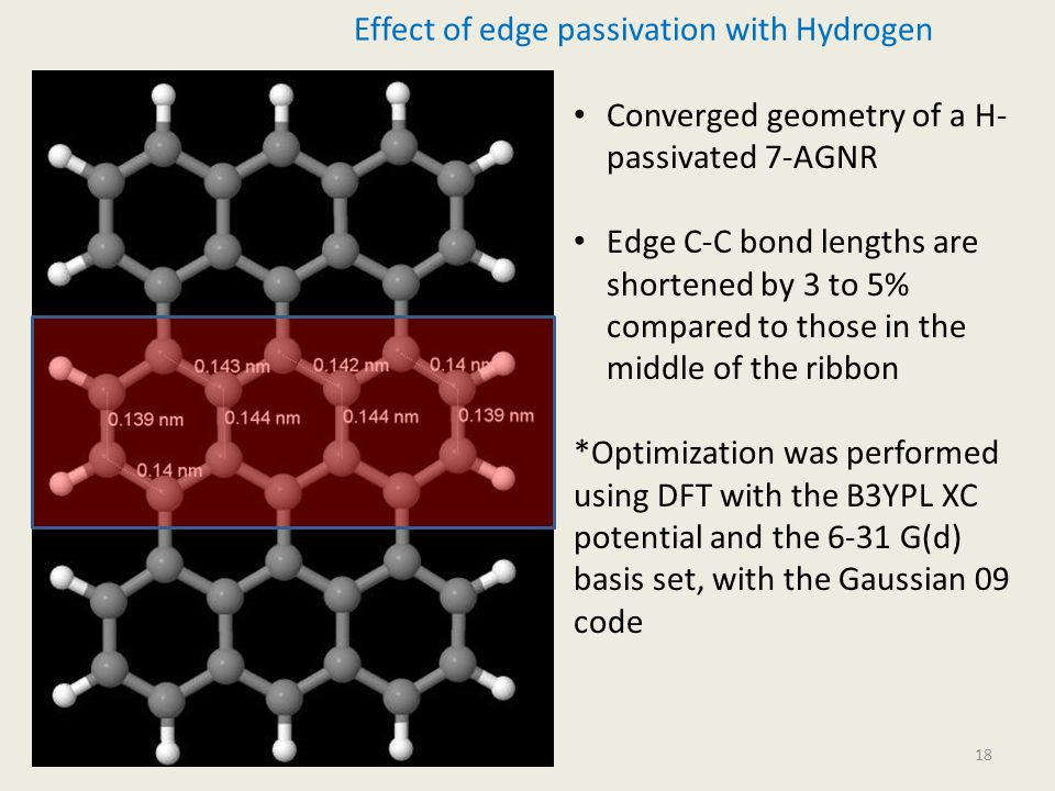 18 Effect of edge passivation with Hydrogen Converged geometry of a H- passivated 7-AGNR Edge C-C bond lengths are shortened by 3 to 5% compared to those in the middle of the ribbon *Optimization was performed using DFT with the B3YPL XC potential and the 6-31 G(d) basis set, with the Gaussian 09 code