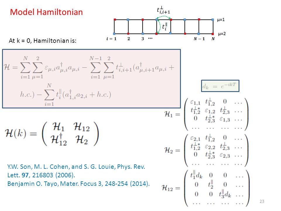 23 Model Hamiltonian Y.W. Son, M. L. Cohen, and S. G. Louie, Phys. Rev. Lett. 97, 216803 (2006). Benjamin O. Tayo, Mater. Focus 3, 248-254 (2014). At