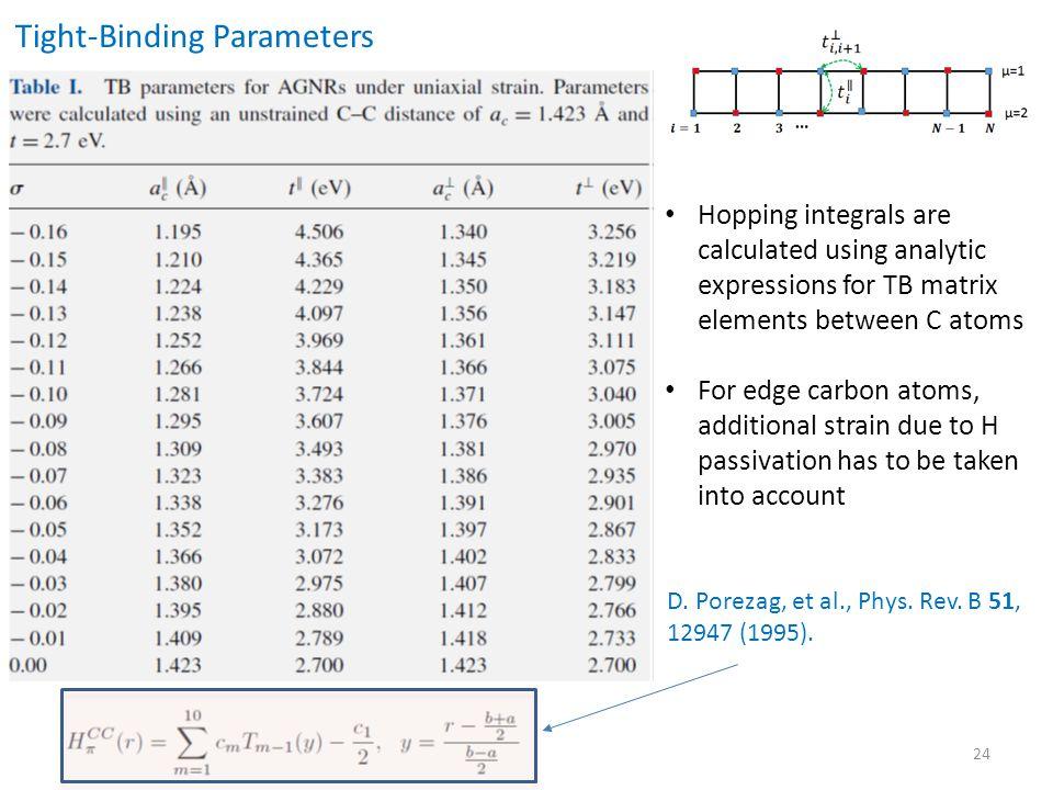24 Tight-Binding Parameters D.Porezag, et al., Phys.