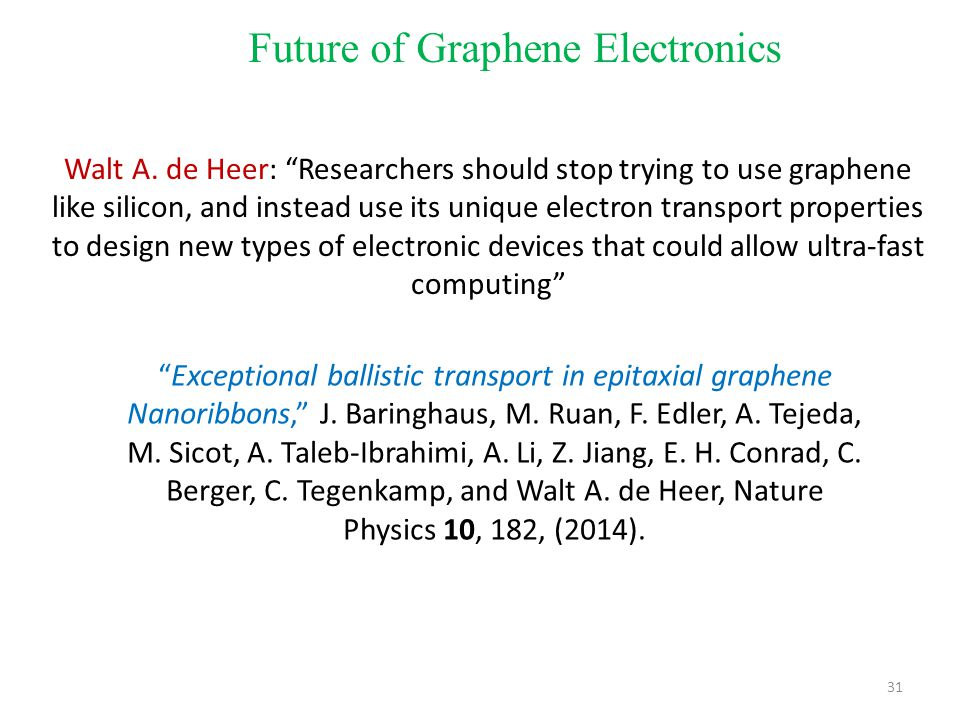"""31 Future of Graphene Electronics Walt A. de Heer: """"Researchers should stop trying to use graphene like silicon, and instead use its unique electron t"""