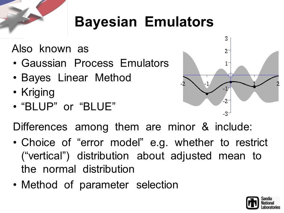 Also known as Gaussian Process Emulators Bayes Linear Method Kriging BLUP or BLUE Differences among them are minor & include: Choice of error model e.g.