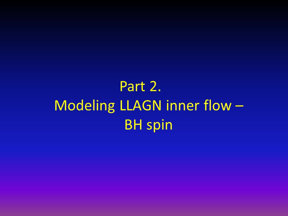 Part 2. Modeling LLAGN inner flow – BH spin