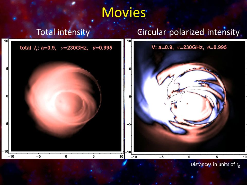 Total intensityCircular polarized intensity Distances in units of r g Movies