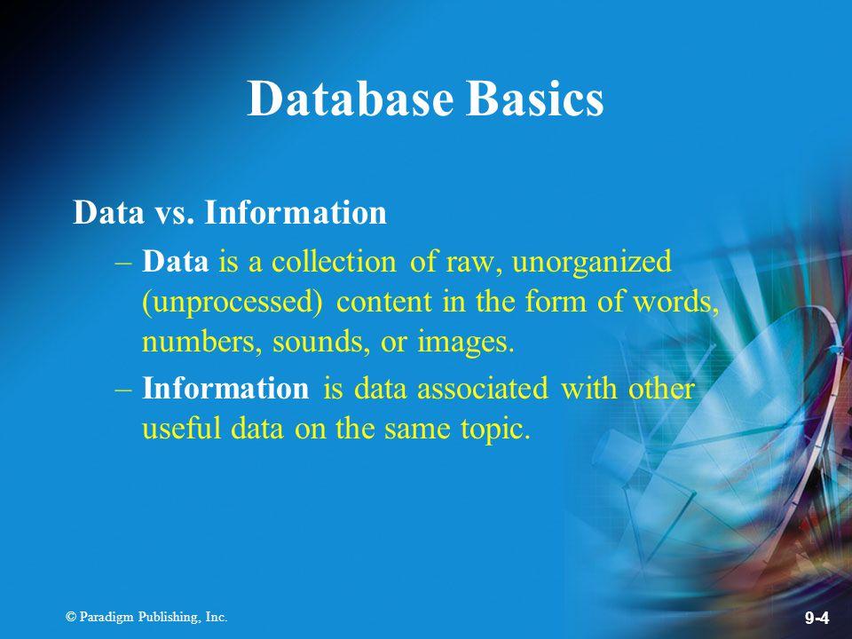 © Paradigm Publishing, Inc. 9-4 Database Basics Data vs.