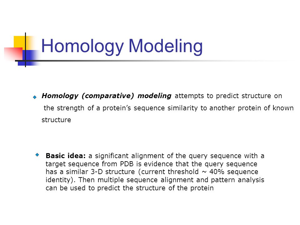 Homology (comparative) modeling attempts to predict structure on the strength of a protein's sequence similarity to another protein of known structure
