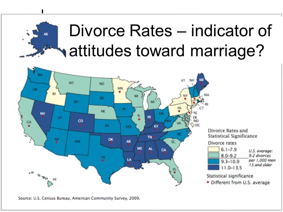 Divorce Rates – indicator of attitudes toward marriage