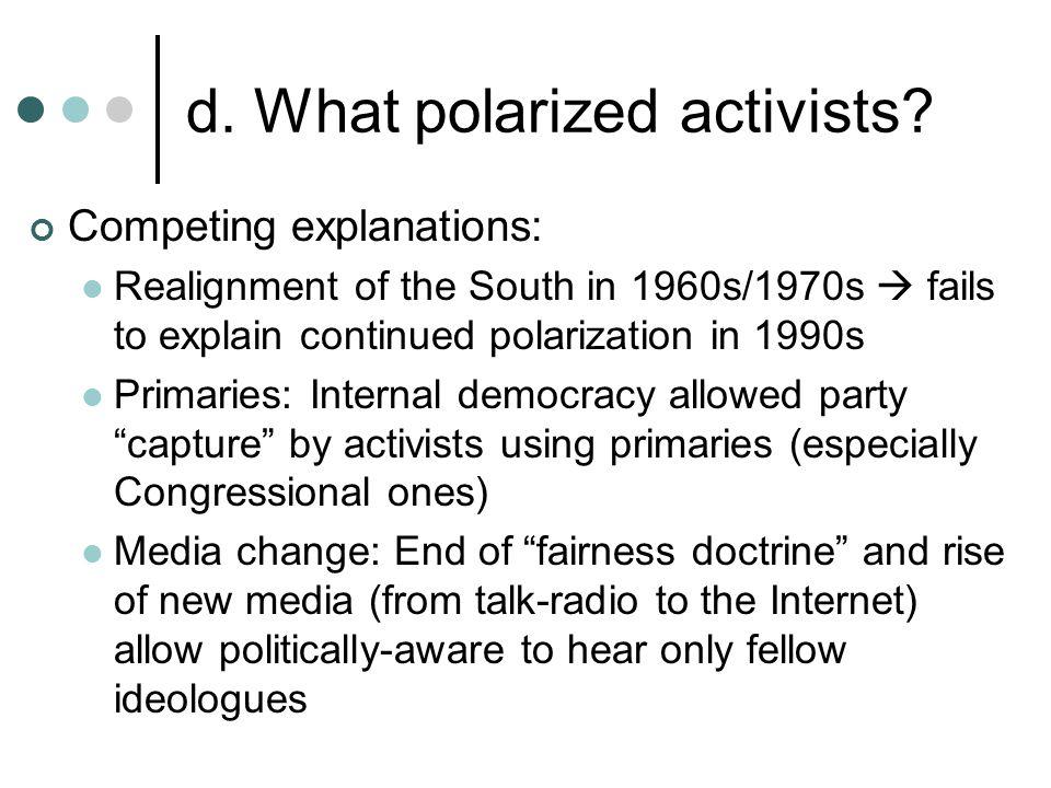 d. What polarized activists.
