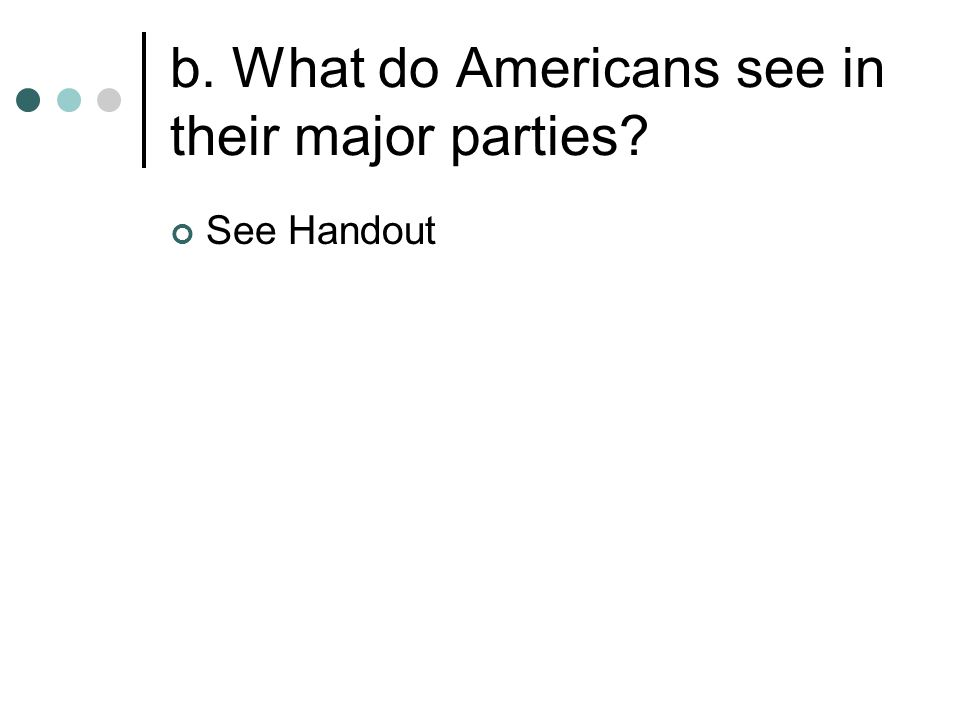 b. What do Americans see in their major parties See Handout