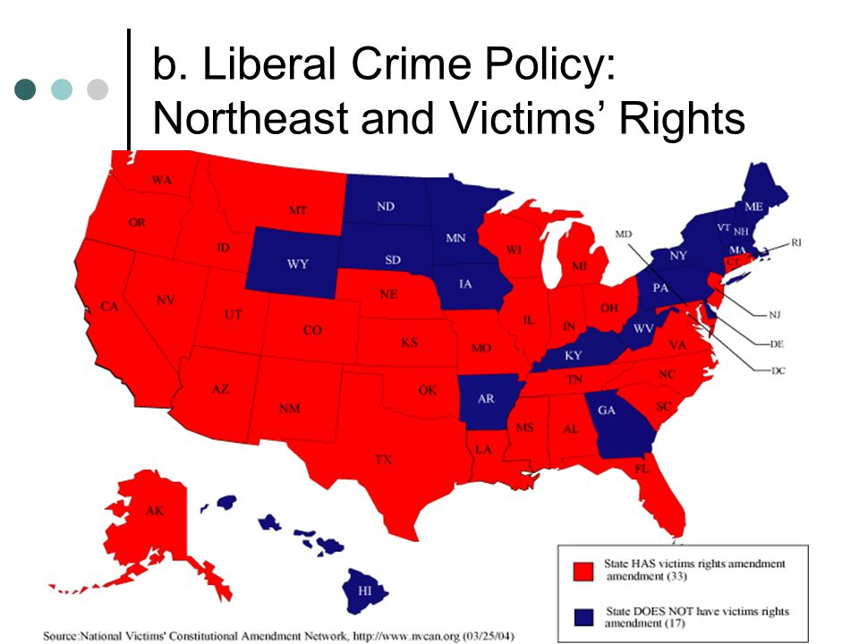 b. Liberal Crime Policy: Northeast and Victims' Rights