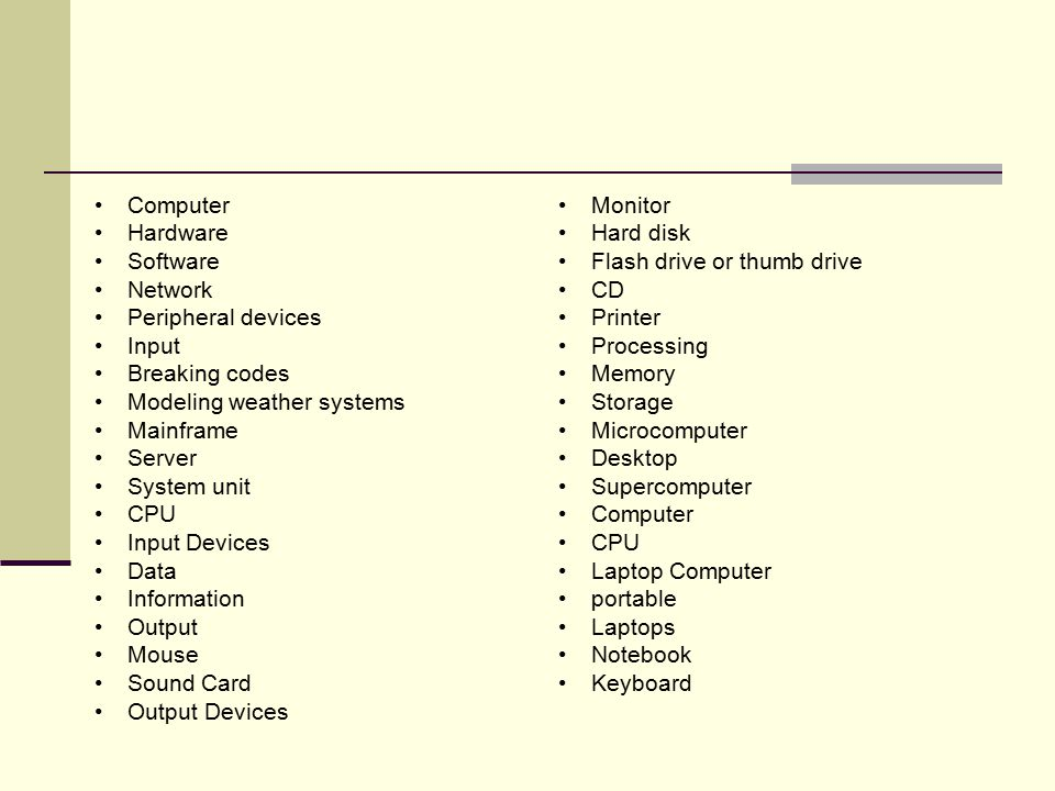 Computer Hardware Software Network Peripheral devices Input Breaking codes Modeling weather systems Mainframe Server System unit CPU Input Devices Data Information Output Mouse Sound Card Output Devices Monitor Hard disk Flash drive or thumb drive CD Printer Processing Memory Storage Microcomputer Desktop Supercomputer Computer CPU Laptop Computer portable Laptops Notebook Keyboard