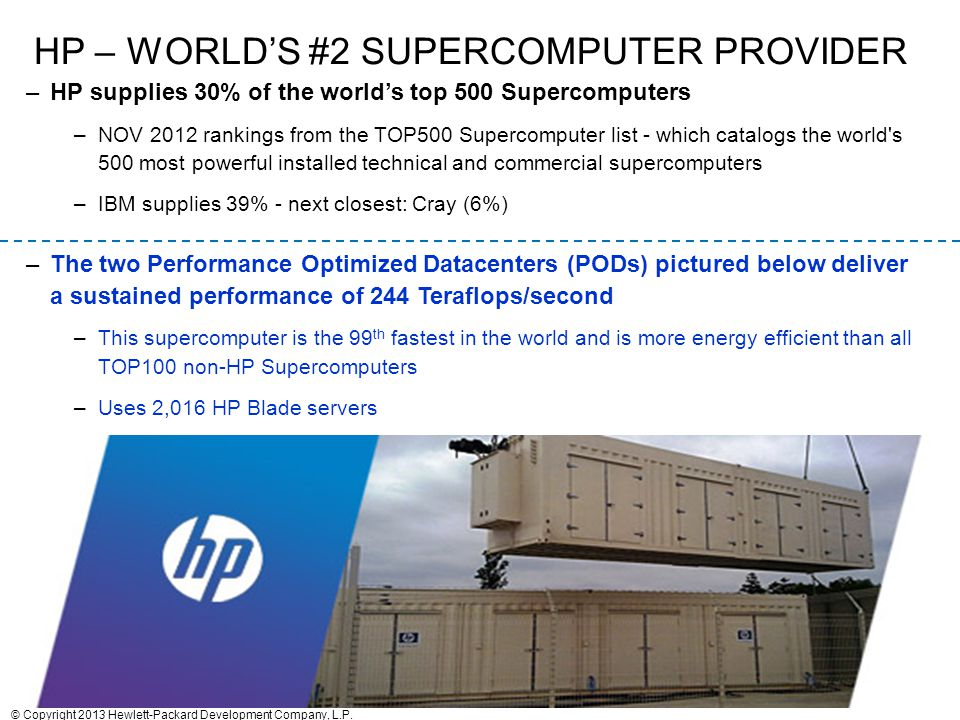 12 HP – WORLD'S #2 SUPERCOMPUTER PROVIDER –HP supplies 30% of the world's top 500 Supercomputers –NOV 2012 rankings from the TOP500 Supercomputer list