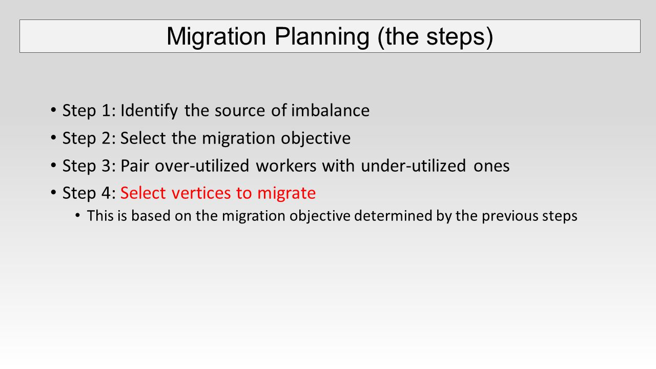Step 1: Identify the source of imbalance Step 2: Select the migration objective Step 3: Pair over-utilized workers with under-utilized ones Step 4: Select vertices to migrate This is based on the migration objective determined by the previous steps Migration Planning (the steps)