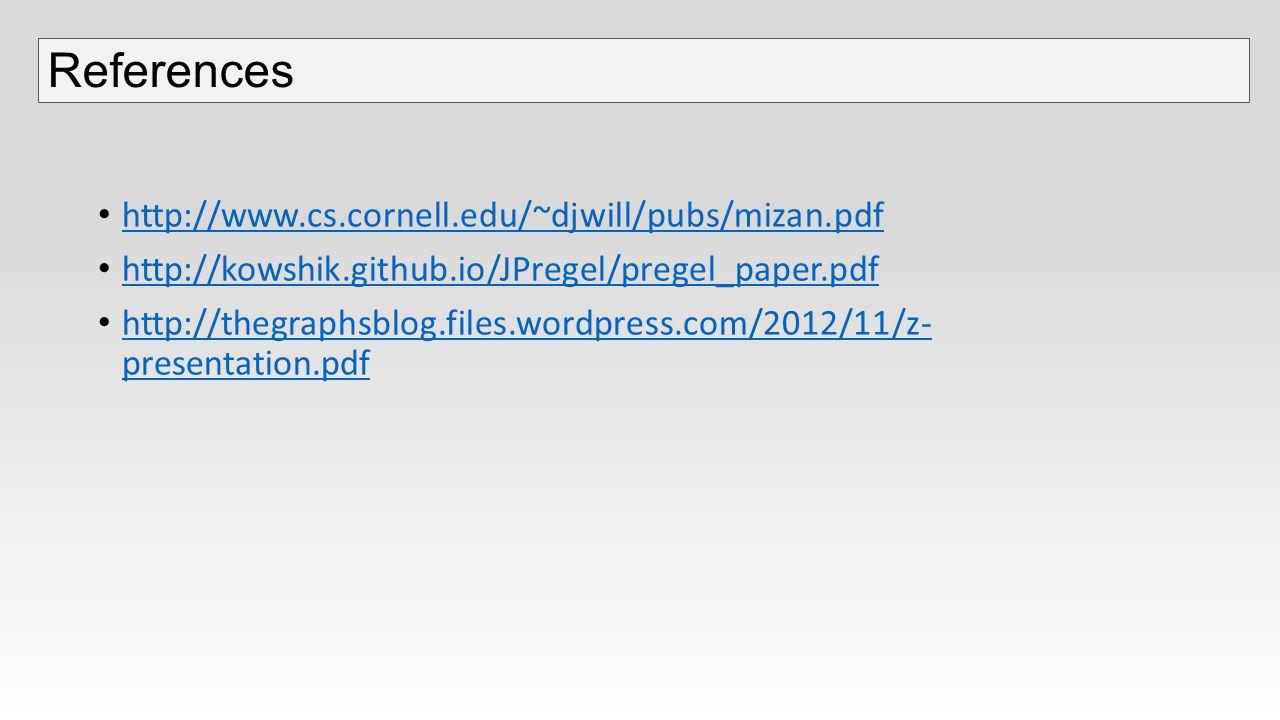 http://www.cs.cornell.edu/~djwill/pubs/mizan.pdf http://kowshik.github.io/JPregel/pregel_paper.pdf http://thegraphsblog.files.wordpress.com/2012/11/z- presentation.pdf http://thegraphsblog.files.wordpress.com/2012/11/z- presentation.pdf References