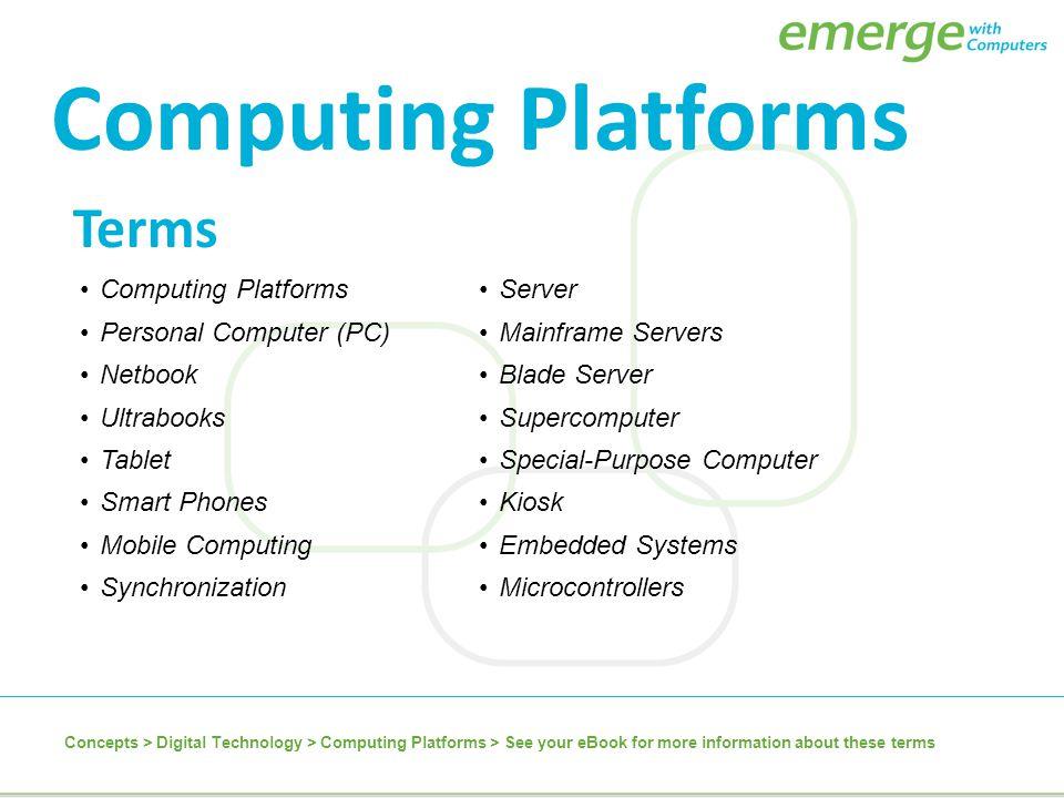 Terms Computing Platforms Personal Computer (PC) Netbook Ultrabooks Tablet Smart Phones Mobile Computing Synchronization Server Mainframe Servers Blad