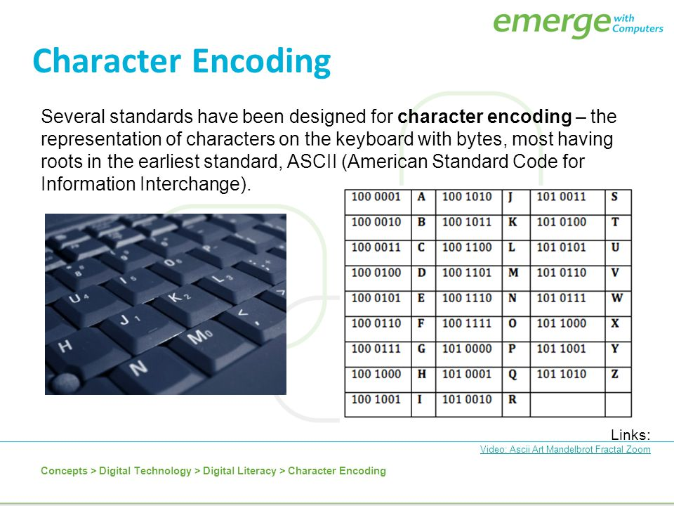 Character Encoding Several standards have been designed for character encoding – the representation of characters on the keyboard with bytes, most hav