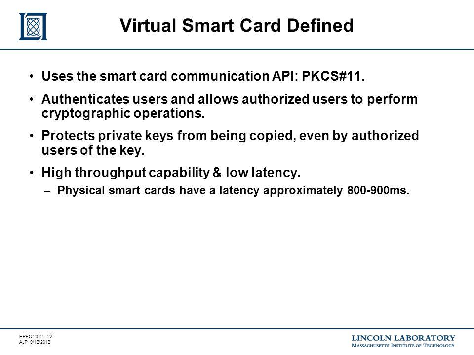 HPEC 2012 - 22 AJP 9/12/2012 Uses the smart card communication API: PKCS#11.