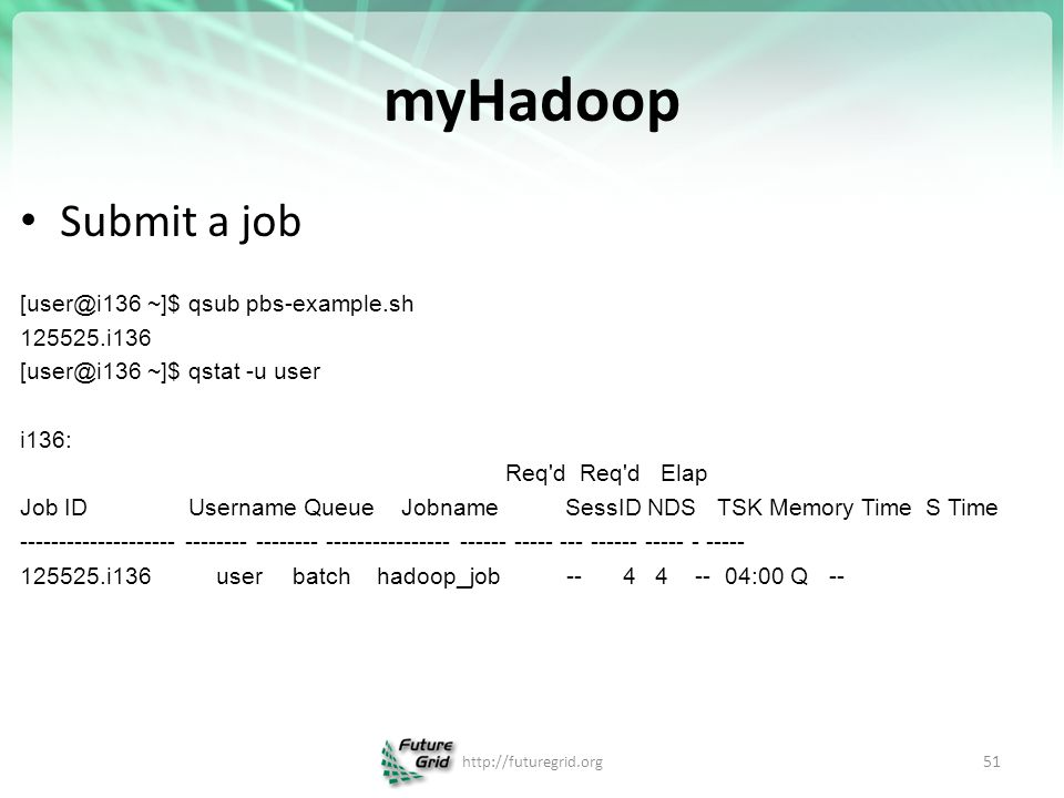 myHadoop Submit a job [user@i136 ~]$ qsub pbs-example.sh 125525.i136 [user@i136 ~]$ qstat -u user i136: Req'd Req'd Elap Job ID Username Queue Jobname