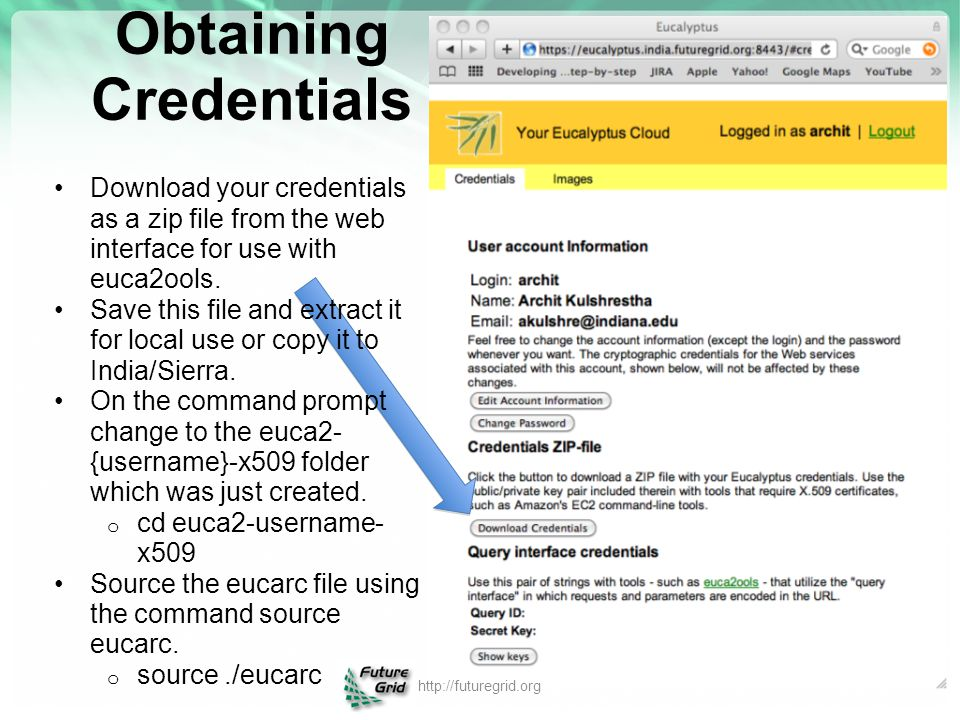 Obtaining Credentials Download your credentials as a zip file from the web interface for use with euca2ools. Save this file and extract it for local u