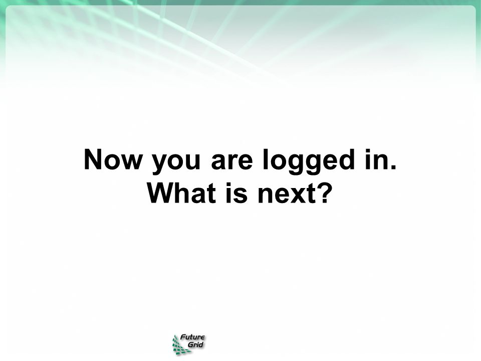 Now you are logged in. What is next?