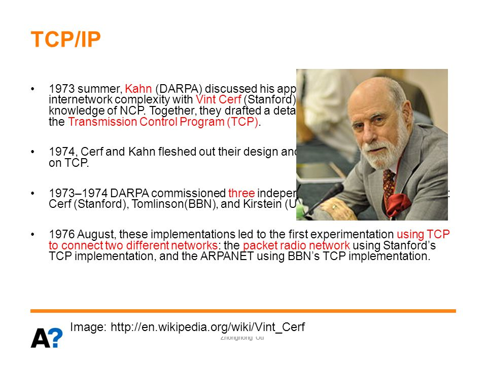 TCP/IP 1973 summer, Kahn (DARPA) discussed his approach for dealing with the internetwork complexity with Vint Cerf (Stanford), who had considerable knowledge of NCP.