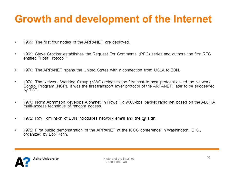 Growth and development of the Internet 1969: The first four nodes of the ARPANET are deployed.