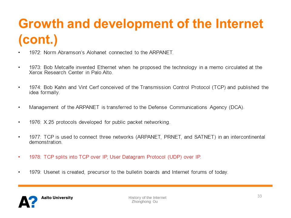 Growth and development of the Internet (cont.) 1972: Norm Abramson's Alohanet connected to the ARPANET.