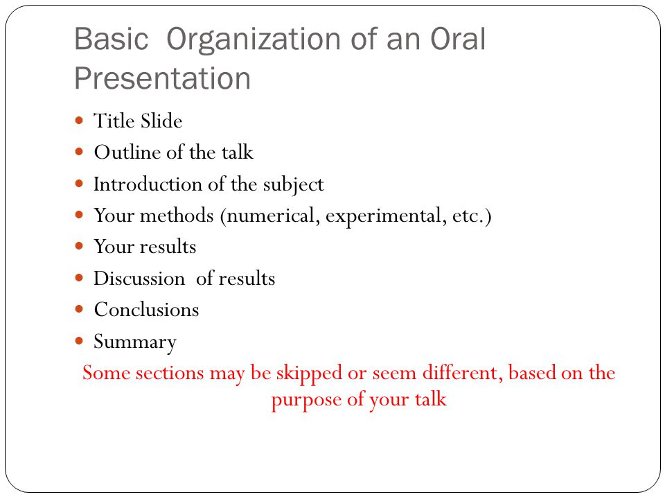 Oral Presentation Exercise You can work alone or in pairs or in groups You can change your mind Come pick a topic If you don't like my topic, choose your own, BUT it should be Technical Illustrate the concepts Challenging Require some research/thinking Each student must talk for 5 minutes (not more, not less), regardless if you are in a group or pair, or single Then there will be 5 min for general feedback 2.5 min for criticism per person 2.5 minutes for positive feedback per person You can trade topics You have 30 minutes to prepare your power point slide and practice – GO!