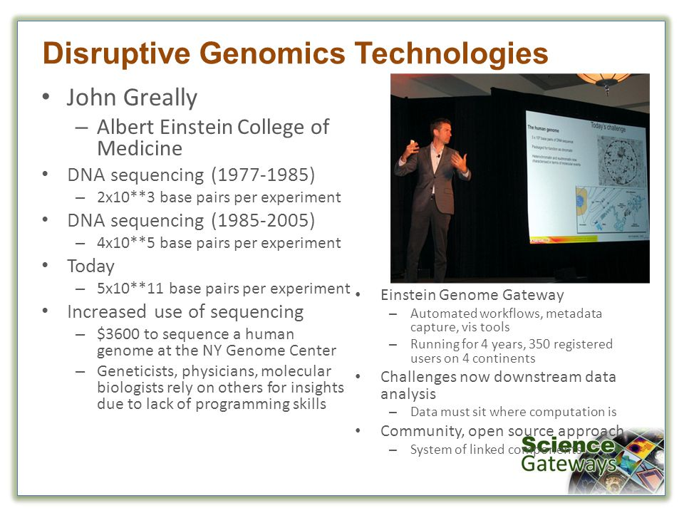 John Greally – Albert Einstein College of Medicine DNA sequencing (1977-1985) – 2x10**3 base pairs per experiment DNA sequencing (1985-2005) – 4x10**5 base pairs per experiment Today – 5x10**11 base pairs per experiment Increased use of sequencing – $3600 to sequence a human genome at the NY Genome Center – Geneticists, physicians, molecular biologists rely on others for insights due to lack of programming skills Disruptive Genomics Technologies Einstein Genome Gateway – Automated workflows, metadata capture, vis tools – Running for 4 years, 350 registered users on 4 continents Challenges now downstream data analysis – Data must sit where computation is Community, open source approach – System of linked components