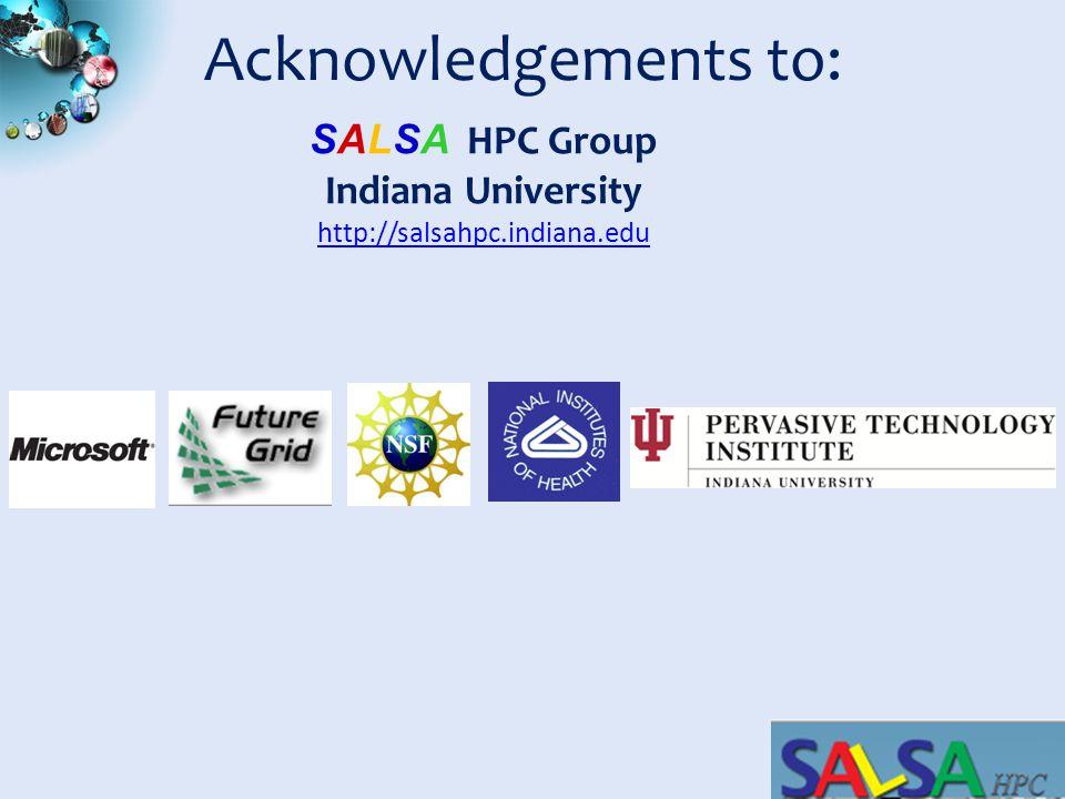 SALSASALSA Acknowledgements to: SALSA HPC Group Indiana University http://salsahpc.indiana.edu