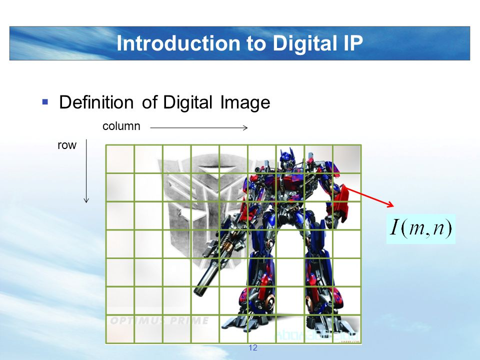 Introduction to Digital IP  Definition of Digital Image row column 12