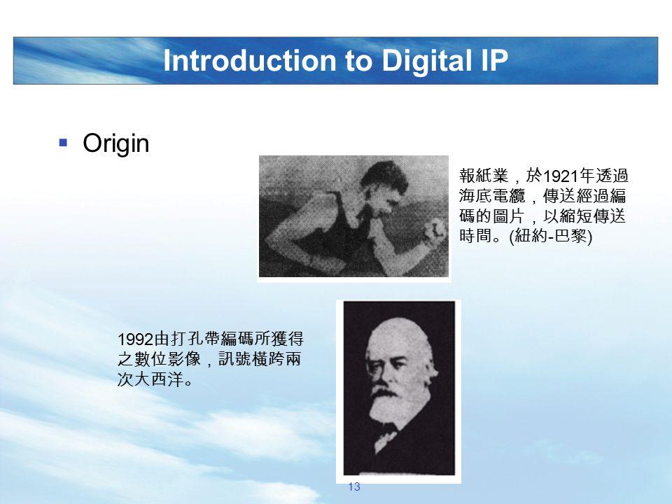 Introduction to Digital IP  Origin 報紙業,於 1921 年透過 海底電纜,傳送經過編 碼的圖片,以縮短傳送 時間。 ( 紐約 - 巴黎 ) 1992 由打孔帶編碼所獲得 之數位影像,訊號橫跨兩 次大西洋。 13