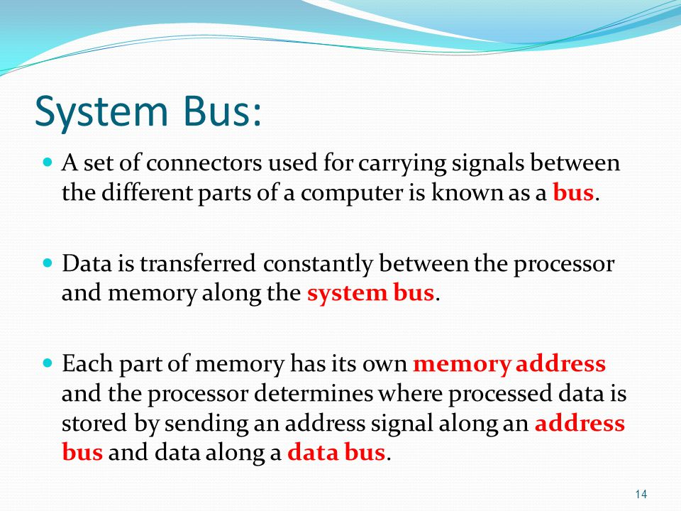 A set of connectors used for carrying signals between the different parts of a computer is known as a bus.