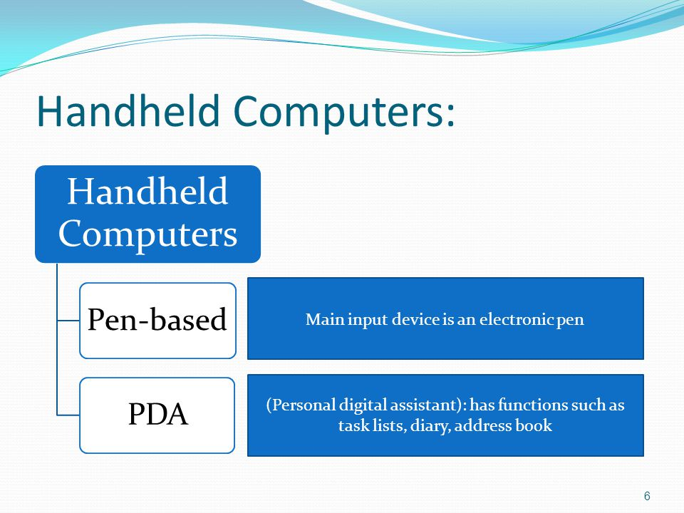 Handheld Computers: 6 Handheld Computers Pen-basedPDA Main input device is an electronic pen (Personal digital assistant): has functions such as task lists, diary, address book