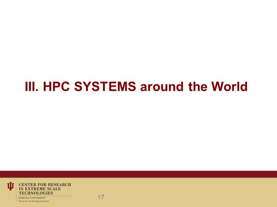 III. HPC SYSTEMS around the World 17