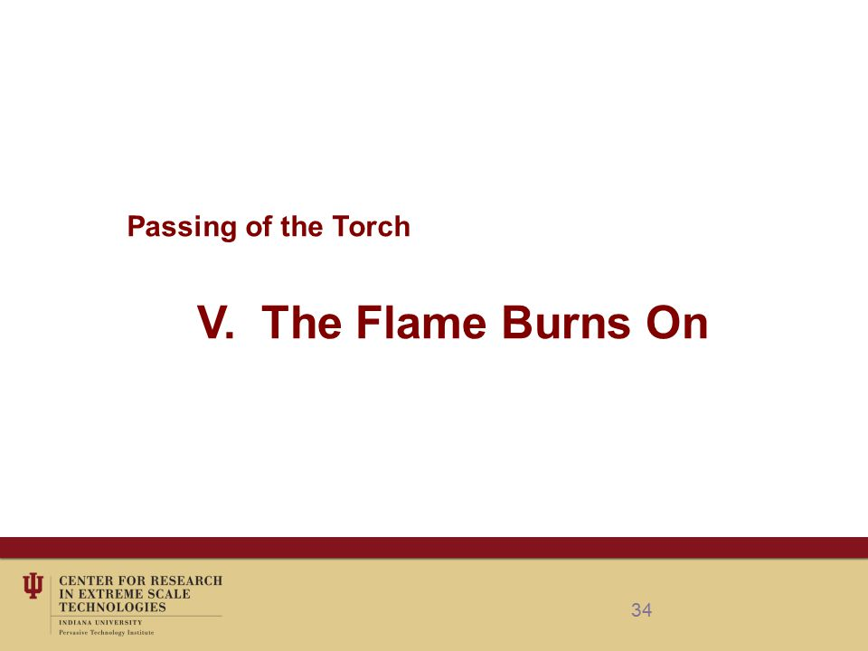 34 Passing of the Torch V. The Flame Burns On