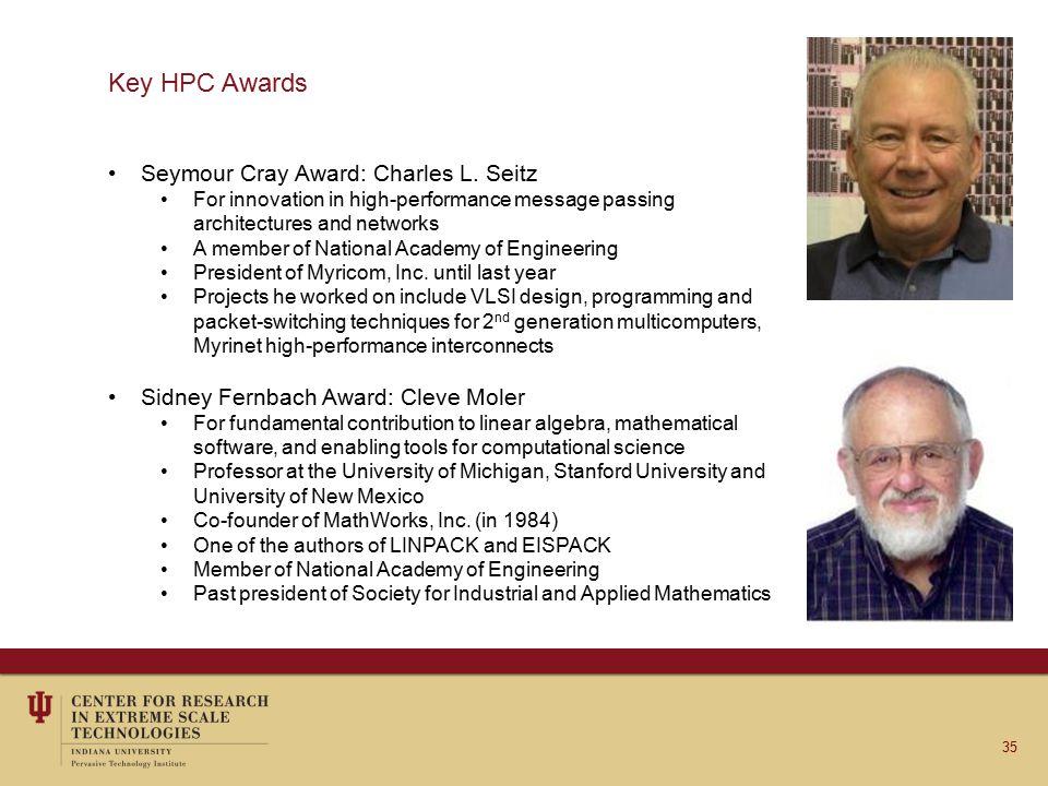 Key HPC Awards Seymour Cray Award: Charles L.