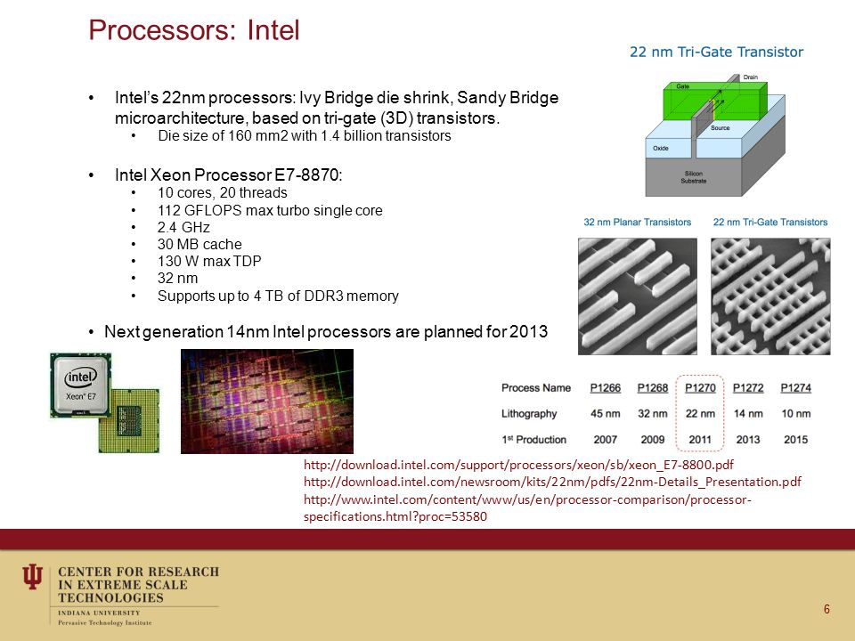 Processors: AMD AMD's 32nm processors: Trinity Die size of 246 mm2 with 1.3 billion transistors AMD Opteron 6200 Series: 16 cores 2.7 GHz 32 MB cache 140 W max TDP 32 nm 239.1 GFLOPS 2 x AMD Opteron 6276 processors Linpack benchmark(2P) 7 http://www.anandtech.com/show/5831/amd-trinity-review-a10-4600m-a-new-hope http://www.amd.com/us/Documents/Opteron_6000_QRG.pdf