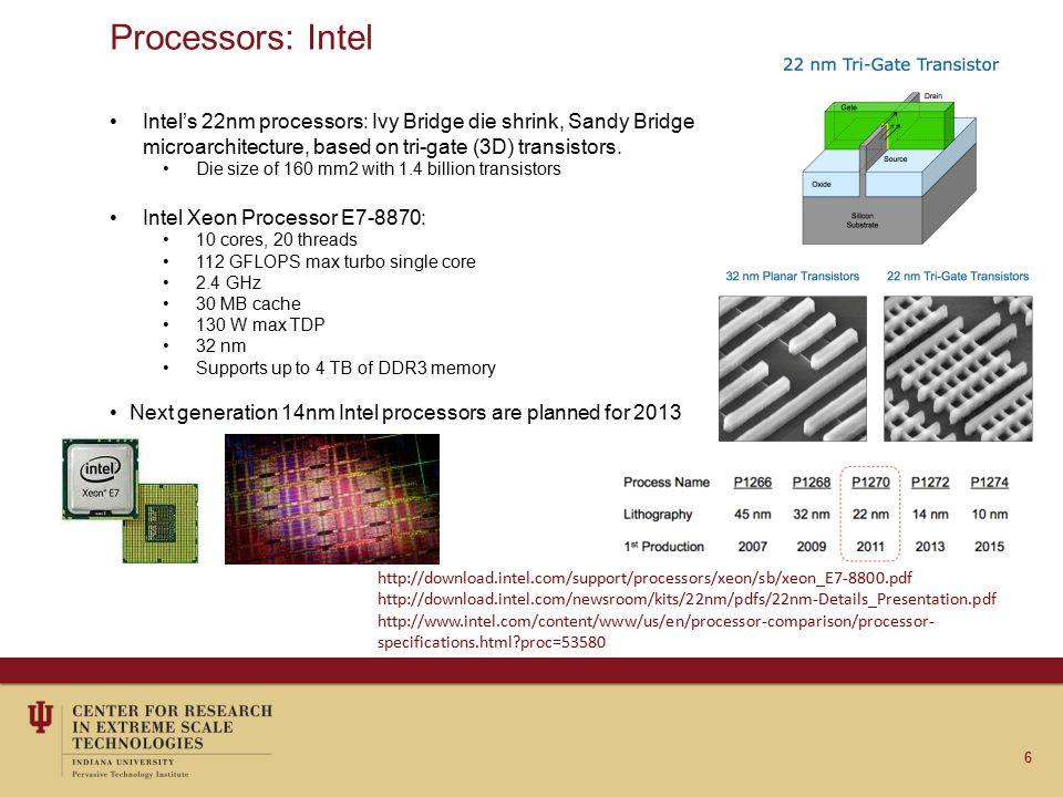 Processors: Intel Intel's 22nm processors: Ivy Bridge die shrink, Sandy Bridge microarchitecture, based on tri-gate (3D) transistors.