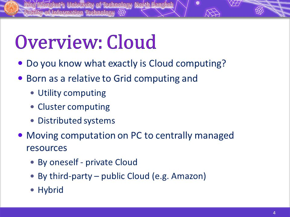 In the mid 1990s, the term Grid was coined to describe technologies that would allow consumers to obtain computing power on demand.