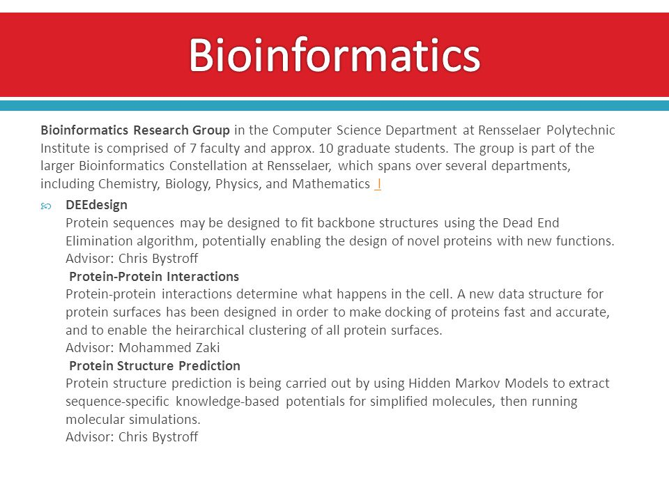 Bioinformatics Research Group in the Computer Science Department at Rensselaer Polytechnic Institute is comprised of 7 faculty and approx.