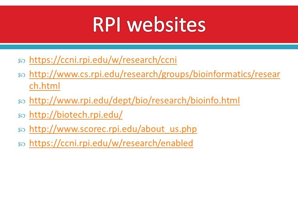  https://ccni.rpi.edu/w/research/ccni https://ccni.rpi.edu/w/research/ccni  http://www.cs.rpi.edu/research/groups/bioinformatics/resear ch.html http://www.cs.rpi.edu/research/groups/bioinformatics/resear ch.html  http://www.rpi.edu/dept/bio/research/bioinfo.html http://www.rpi.edu/dept/bio/research/bioinfo.html  http://biotech.rpi.edu/ http://biotech.rpi.edu/  http://www.scorec.rpi.edu/about_us.php http://www.scorec.rpi.edu/about_us.php  https://ccni.rpi.edu/w/research/enabled https://ccni.rpi.edu/w/research/enabled